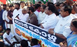 Com. V.S Achuthanandan, Central Committee Member, inaugurating the massive march organised by the  LDF  to  Kerala Secretariat on 03.02.2015 demanding the resignation of the Finance Minister K.M Mani.